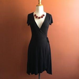 KIMCHI BLUE Faux Wrap Black Dress Size S